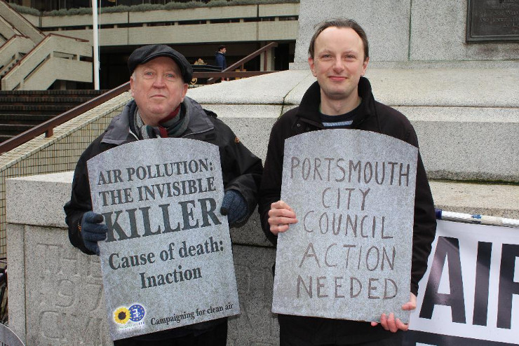 Portsmouth Greens clean air action 4th April 2018 Keith Taylor and Tim Sheerman-Chase